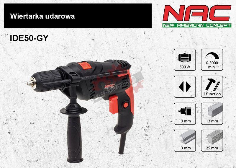 NAC Wiertarka udarowa 500W IDE50-GY